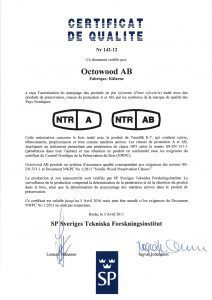 certificat de qualité NTR OCTO