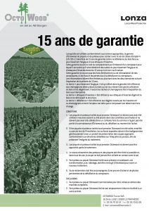 Octowood conditions GARANTIE 15 ans